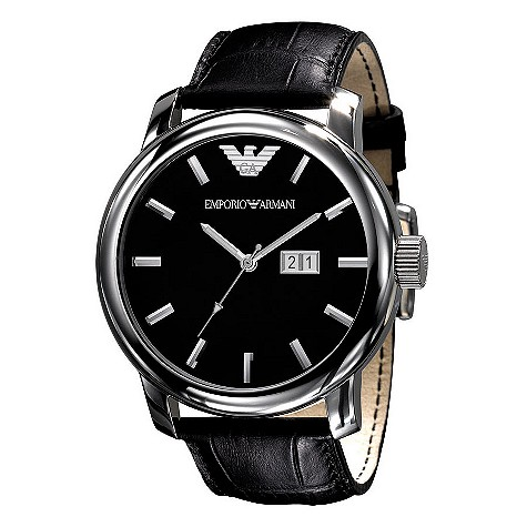 Emporio Armani black leather strap watch