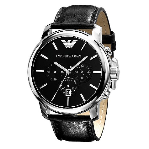Emporio Armani black leather strap chronograph watch