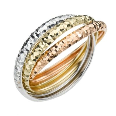 9ct Three Colour Gold Diamond Cut Russian Wedding Ring All Brands