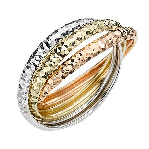 9ct Three Colour Gold Diamond Cut Russian Wedding Ring