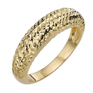 9ct Yellow Gold Diamond Cut Fancy Ring