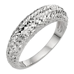 9ct White Gold Diamond Cut Fancy Ring