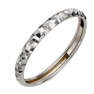 9ct White Gold Diamond Cut Small Fancy Ring