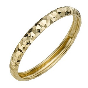 9ct Yellow Gold Diamond Cut Small Fancy Ring