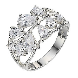 Sterling Silver Cubic Zirconia Leaf Ring - Size L