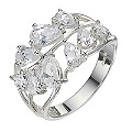 Sterling Silver Cubic Zirconia Leaf Ring - Size P - Product number 8188629