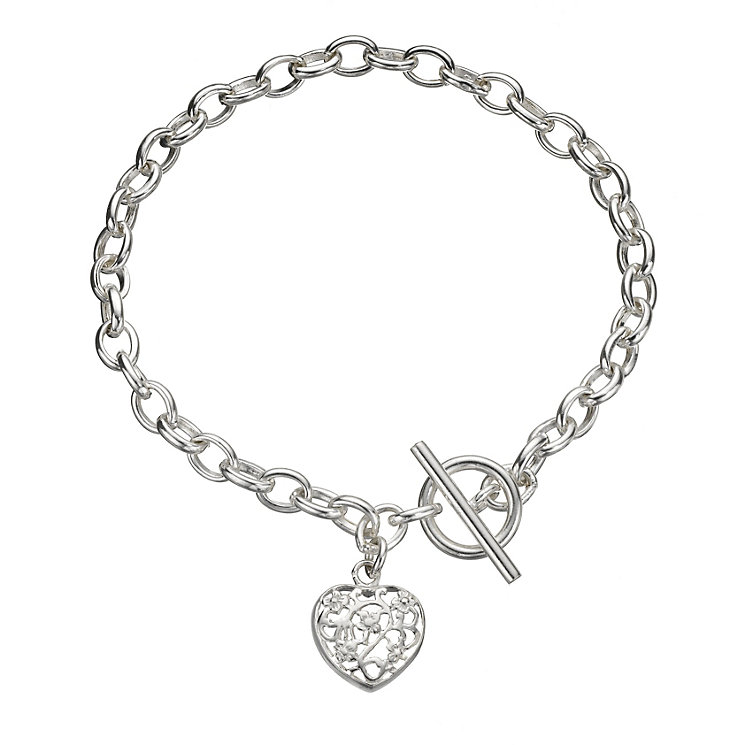 Sterling Silver Flower Heart Bracelet - Product number 8189803