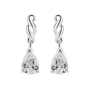 Sterling Silver and Cubic Zirconia Pear Drop Earrings - Product number 8189897