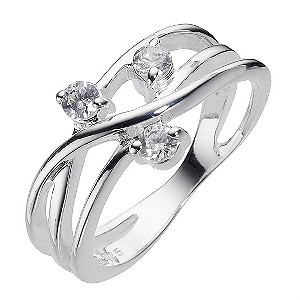 Sterling Silver Cubic Zirconia Weave Ring Size P