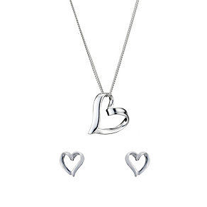 Sterling Silver Heart Earrings & Pendant Set - Product number 8190038