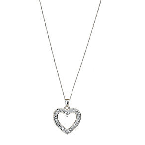 Sterling Silver Crystal Heart Pendant - Product number 8190607