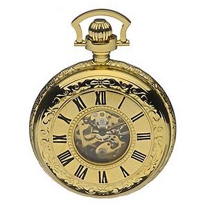 Half Skeleton Gold-Plated Pocket Watch