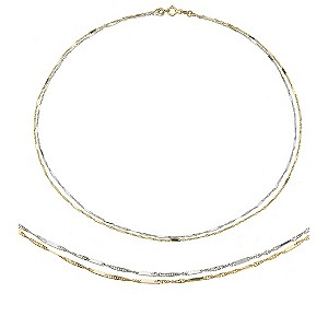 9ct Two Colour Gold Double Strand Necklace