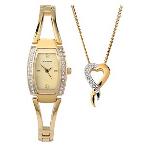 Sekonda Ladies' Gold-Plated Watch & Pendant Gift Set - Product number 8193371