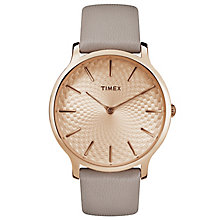 Timex Ladies' Skyline Grey Leather Strap Watch - Product number 8193738