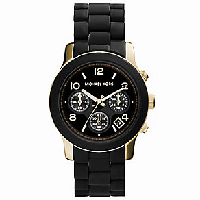 Michael Kors ladies' gold-plated & black chronograph watch - Product number 8194181