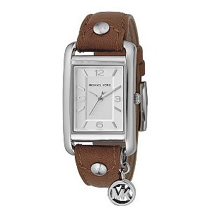 Michael Kors ladies' brown leather strap watch with charm - Product number 8194351