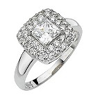 9ct white gold made with Swarovski Zirconia cluster ring - Product number 8195390