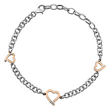 Hot Diamonds Silver & Rose Gold Three Hearts Bracelet - Product number 8195579