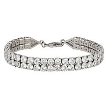 Mikey Silver Tone Cubic Zirconia Double Row Bracelet - Product number 8195714