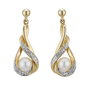 9ct yellow gold diamond & pearl twist earrings - Product number 8196427