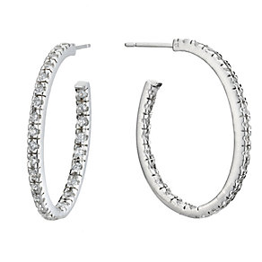 Sterling Silver Cubic Zirconia Hoop Earrings - Product number 8197555