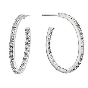 Sterling Silver Cubic Zirconia Hoop Earrings - Product number 8197555