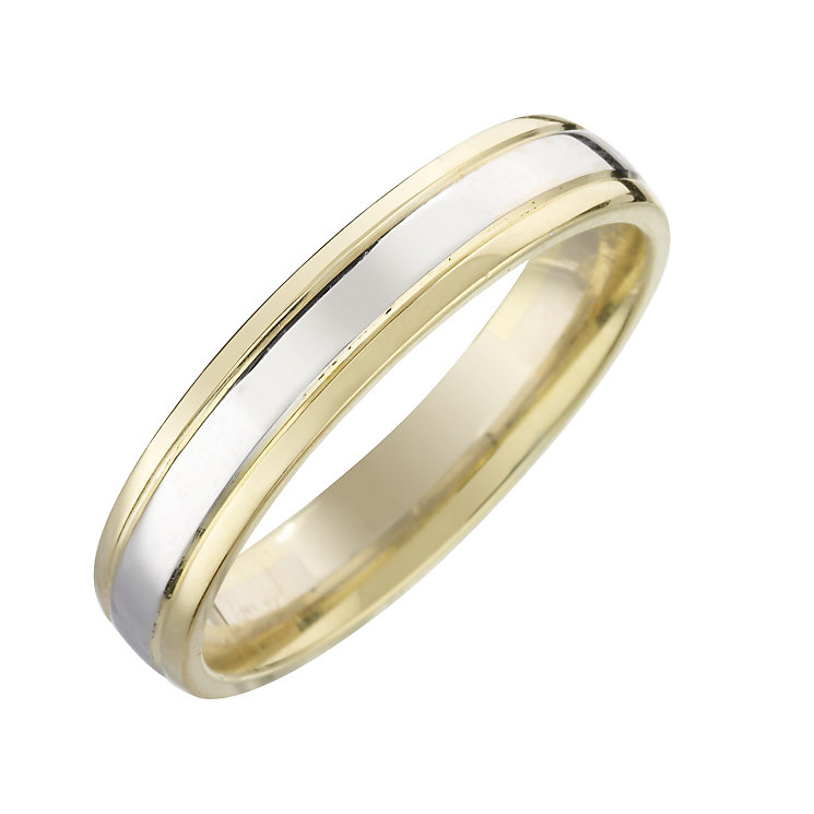 18ct two-colour gold wedding ring - Product number 8198594