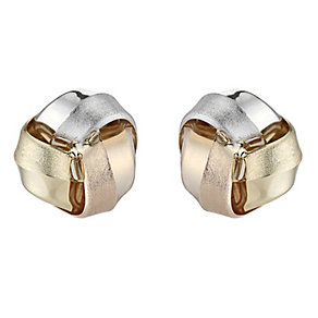 9ct white, yellow and rose gold knot stud earrings - Product number 8199418