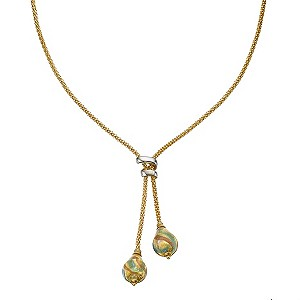 9ct yellow gold murano glass double drop bead necklace - Product number 8199620