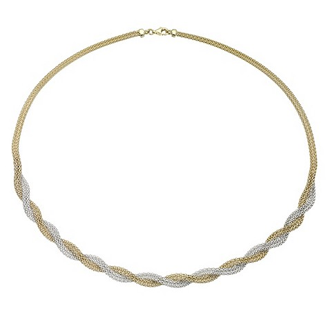 9ct gold two colour twist woven necklace