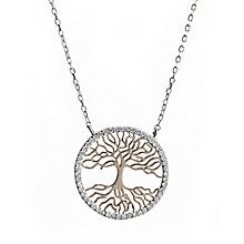 Cailin Silver & Rose Gold Tree Pendant Necklace - Product number 8200033