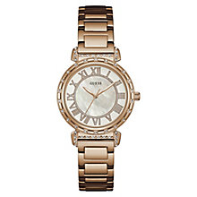 GUESS Ladies' Stone Set Rose Gold Plated Bracelet Watch - Product number 8200092