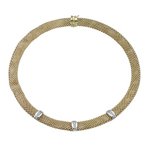 9ct gold two colour woven diamond set necklace