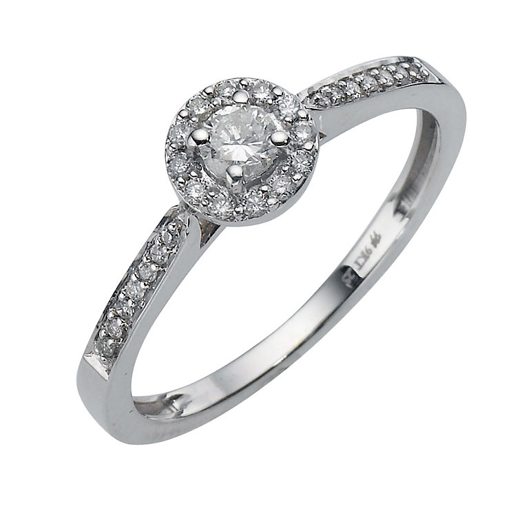 9ct white gold 0.25ct diamond cluster ring - Product number 8200742