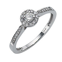 9ct white gold quarter carat diamond cluster ring - Product number 8200742