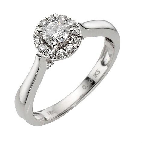 18ct white gold half carat diamond halo cluster ring