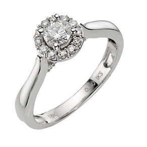 18ct white gold half carat diamond halo cluster ring - Product number 8201005