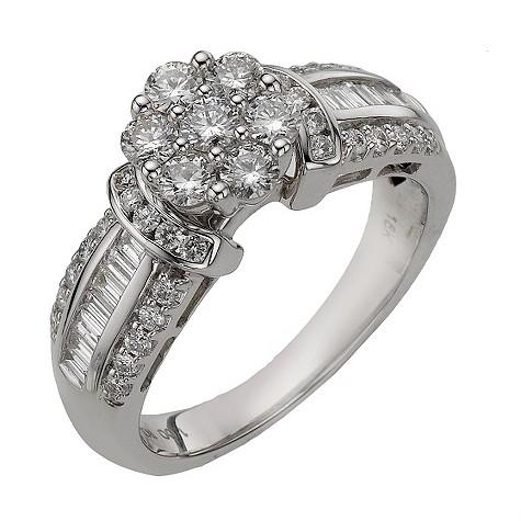 18ct white gold 1 carat diamond flower cluster ring