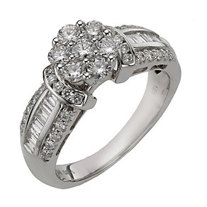 18ct white gold 1 carat diamond flower cluster ring - Product number 8203113