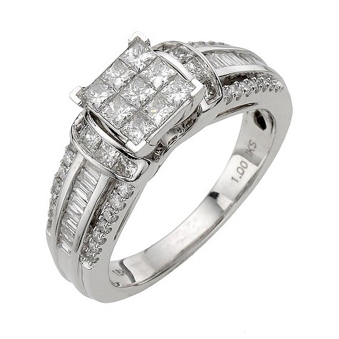 18ct white gold 1 carat diamond princess cut cluster ring