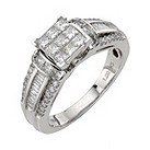 18ct white gold 1 carat diamond princess cut cluster ring - Product number 8203245