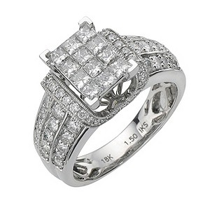 18ct white gold 1.5 carat diamond princess cut ring - Product number 8203385