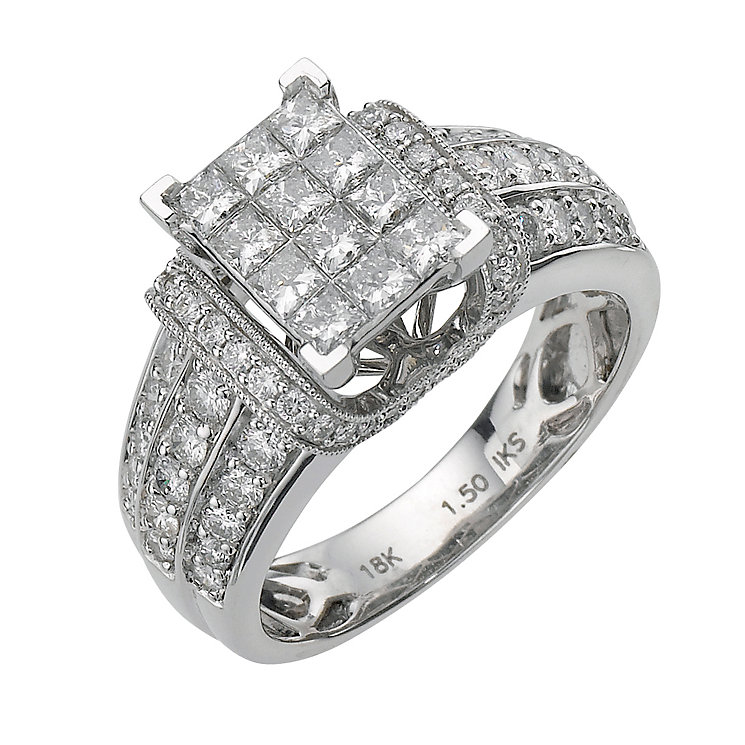 18ct white gold 1.5 carat diamond princess cut ring - Product number 8203385