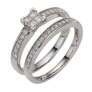9ct white gold third carat diamond cluster bridal set - Product number 8203784