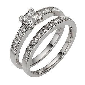 9ct white gold third carat diamond cluster bridal set - Product number 8203784