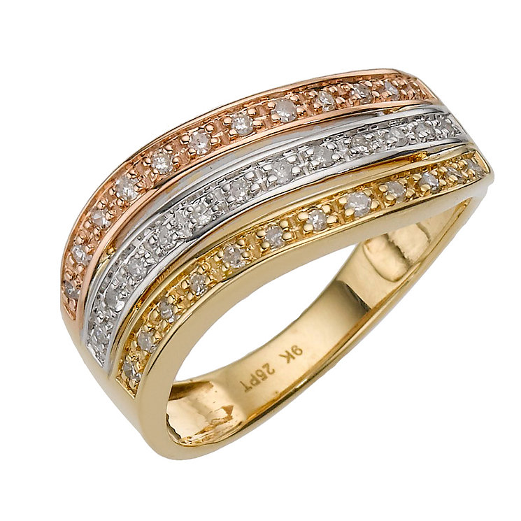 9ct three colour gold quarter carat diamond dress ring - Product number 8204047