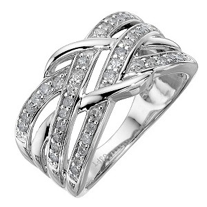 9ct white gold 1/3 carat diamond weave ring - Product number 8204187