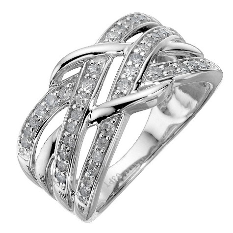 9ct white gold 1/3 carat diamond weave ring