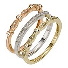 9ct three colour gold diamond stack ring - Product number 8204314
